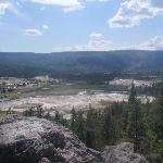 View of the geyser basin at Observation Point