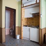 Spacious minibar (actually fridge) in kitchen area.