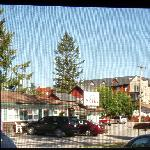 Looking out the screen door of our room.