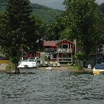 View of OSullivan beach from Row Boat..immediately in front of the red cabin only