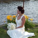 Out by the lilies and the water on the grounds.  My husband took this picture.