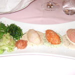 starter of 3 fish tartares with Japanese salads