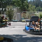 Kids driving cars at the local Fun Spot