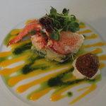 lobster saldad with orange coulis