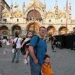 The hubby and boys in St. Mark's Square, about a minute from the hotel