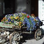 L'antico carro ricoperto di fiori all'entrata dell'Hotel Baita Fiorita
