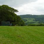 View across the field to the hut