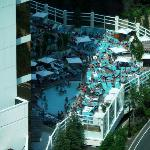 3PM shadw falls on ahlf the cramped guests at Water Club pool.