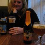 My wife enjoying her beer