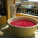 Outdoor Jacuzzi (room 4401) filled with roses...