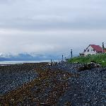 Looking at the Cottage on the Bay from a walk down the beach, Lowell Point, Seward