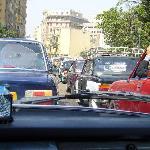 Bumper to bumper Egyptian traffic