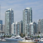 View from False Creek from the marina at the base of Davie St.