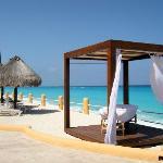 Evening massage area on beach