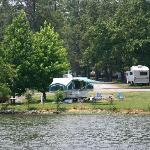 view of our campsite from the lake