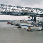 Mississippi River Bridge, New Orleans as our ship pulls out on Ash Wednesday '03