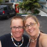 Partner and I in front of hotel
