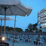 Cala Ferrera beach bar by night