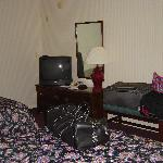 TV and dresser.