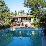 Outdoor kitchen overlooking pool