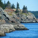 the rocky cliffs