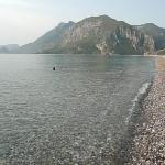 Early morning at the sea. I've just come ti the beach, but Mahir allready swimms back :)
