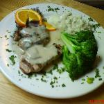 $10 loin of pork with broccoli and garlic mashed potatoes