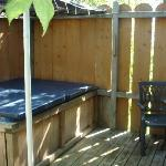 the super secluded back deck with hot tub