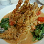 Fried soft shell crab pasta (yes those are two crabs!)