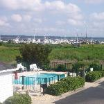 View from hotel balcony of the pool & fitness ctr. along Winyah Bay