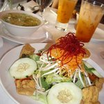 Soup, salad & Thai iced tea