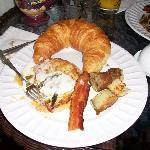 our breakfast, asparagus quiche, crossiant, bacon, potatos