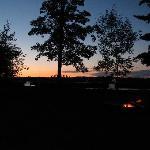 Evening sky and campfire