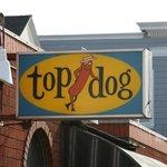 Close up of Top Dog signage