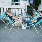 sunny glasgow breakfast outside hostel