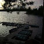 view of the dock from the deck of cabin # 8
