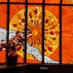 Stainglass window inside Palacio Del Sol Hotel, Chihuahua, 3/29