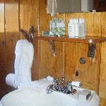 rustic themed interior, branches made the shelves!