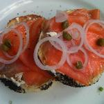 Smoked salmon bagel with onion n cream cheese (hotel de la paix)