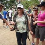 Mum holding a snake....ewww