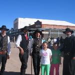 """Chloe and Caitlyn with the men who played """"Doc Holiday and Wyatt Earp in the recreation of the g"""