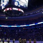On-ice view of the TD Banknorth Garden's Jumbo-Tron, and the starting lineup of the Boston Bruin