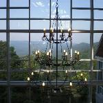 Lodge lobby chandelier