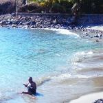 On the beach in Dominica.