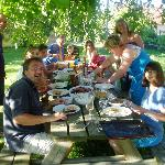 Sun, great food and company - enjoy Le Chevrefeuille