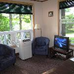 Cottage 1 - Living Room from Bathroom and Bedrooms hallway
