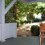 View from porch showing garden walk to the front gate.