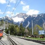 Tourist mountain train from Montreux to Rochers-de-Naye 6400 feet up in the Alps