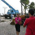 News Crew after a Typhoon right out front of the Boulevard Mansion