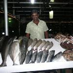 my favourite waiter Subash, at hotel Neelakanta with the catch of the day
